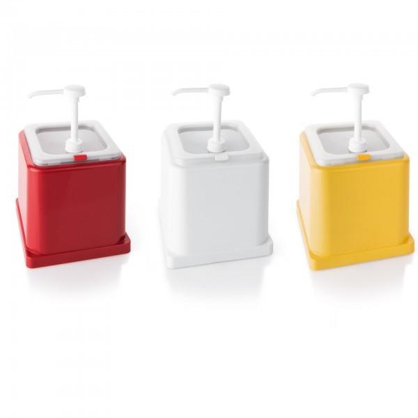 GN-Saucenspender - GN 1/6 - 2,4 Liter - rot - weiß und gelb - 3894001