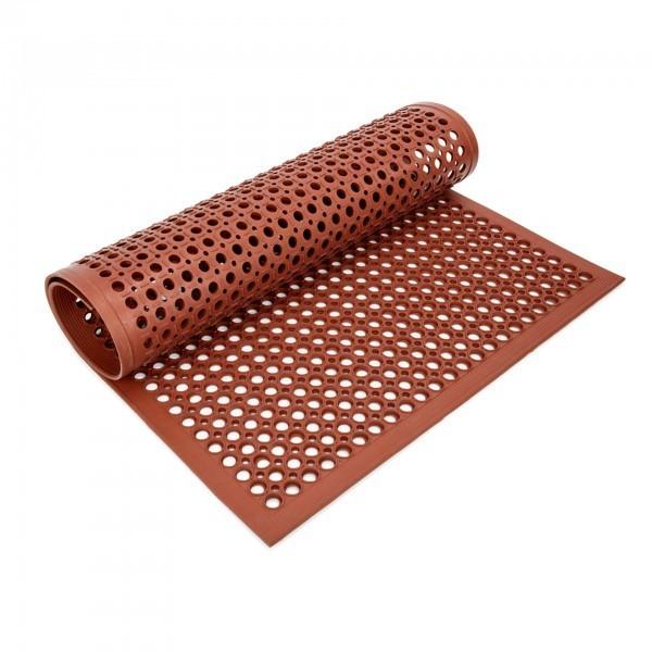 Fußbodenmatte - Gummi - rot - perforiert