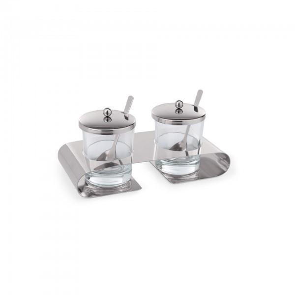 Parmesan / Marmeladen Menage - Chromnickelstahl - Behälter aus Glas