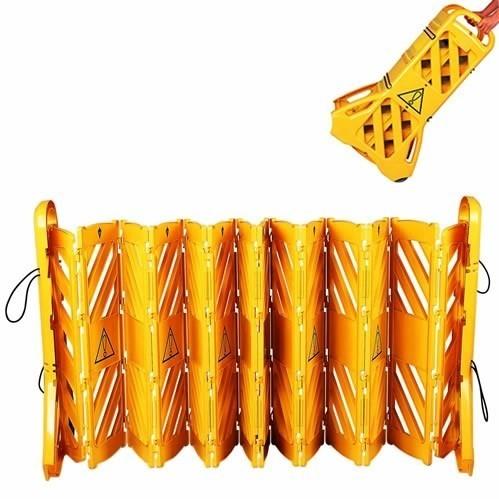 Mobile Absperrung aus Kunststoff, gelb, Breite 4m