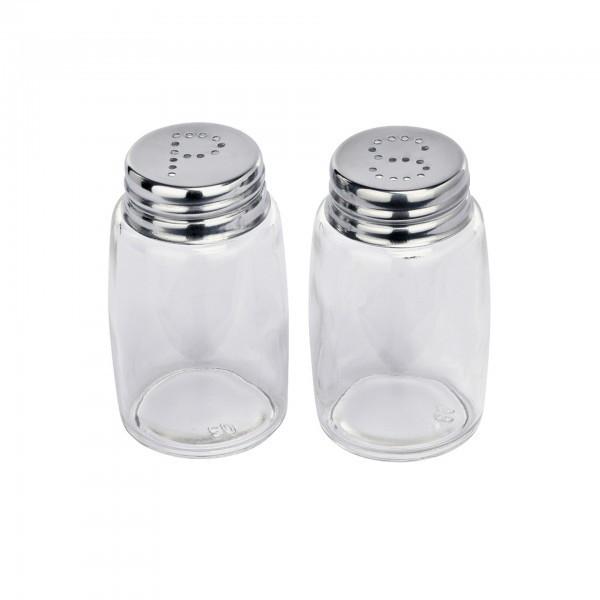 Salz-/Pfefferstreuer - Glas - Kappe aus Edelstahl