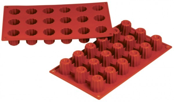 Silikon-Backform, Bordelais, 18 Formen - 3,5x3,5 cm