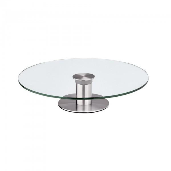 Tortenplatte - Glas - rund - Fuß aus Edelstahl